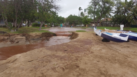 Fishpond Impacted by Major Flooding